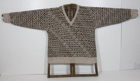Photo of a fair isle all-over jumper on a jumper board
