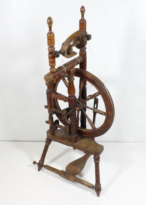 Photo of a typical spinning wheel used in Shetland.