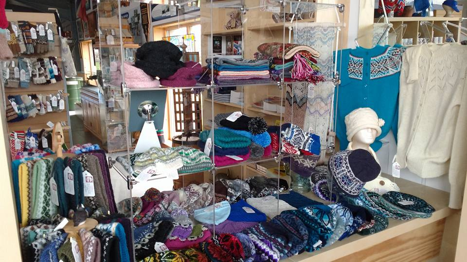 Photo of locally produced knitwear on display in the shop