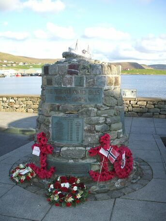 The Shetland Bus Memorial located close to the waterfront.